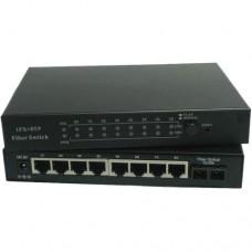 10/100M Dual Fiber 1-port SC/ST/FC & 8-port RJ45 Fast Ethernet Fiber Media Converter