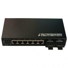 10/100M Dual Fiber 2-port SC/ST/FC & 6-port RJ45 Fast Ethernet Fiber Media Converter