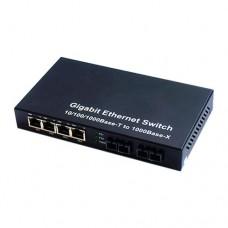 10/100/1000M Dual Fiber 2-port SC/ST/FC & 4-port RJ45 Fiber Media Converter