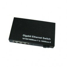 A Pair of 10/100/1000M Single Fiber 1-port SC/ST/FC & 4-port RJ45 BIDI WDM Fiber Media Converter