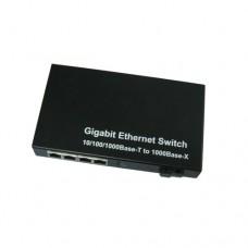 A Pair of 10/100/1000M Single Fiber 1-port SC/ST/FC & 4-port RJ45 BIDI WDM Fiber Media Converter