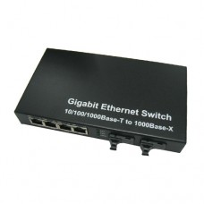 A Pair of 10/100/1000M Single Fiber 2-port SC/ST/FC & 4-port RJ45 BIDI WDM Fiber Media Converter